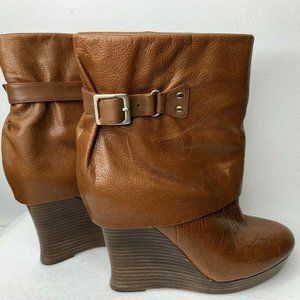Saks Fifth Avenue Cuff Boot Brown Leather Wedge